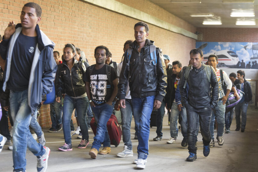 Schoenefeld, 13.09..2015 - Arrival of Syrian refugees at Schoenefeld train station