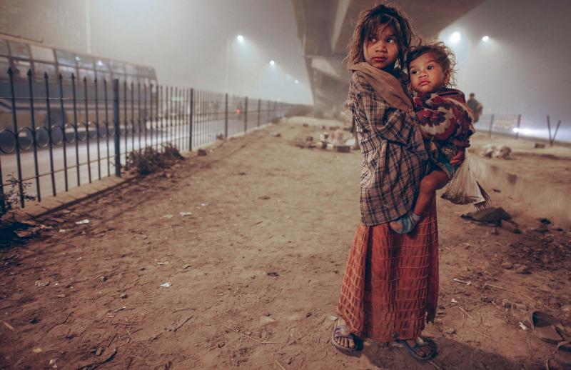 Obdachlose Kinder,Neu Delhi, 2010