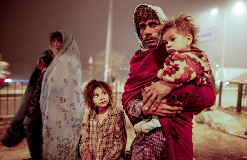 Obdachlose Familie,Neu-Dehli, Indien, 2010